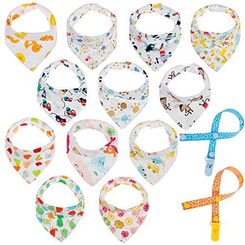 Dreieckstuch Lätzchen mit 2 Schnullerband, Lictin 12pcs Baby Halstuch Spucktuch mit Schnullerketten, Unisex Bio-Baumwolle Halstücher Lätzchen mit Druckknöpfen für Babys (0 -36 Monate)
