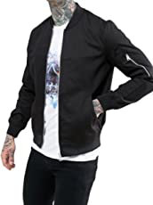 Dfine Men's Bomber Jacket with Sleeves and Zip