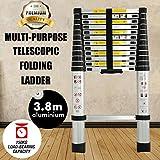 3.8m 12,5Pieds multi-usages en aluminium Échelle télescopique extension extensible Steps pour Home Loft Bureau