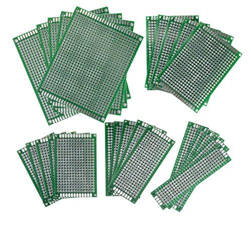 WINGONEER 25PCS / 5 Größe PCB Brett Universal doppelseitiges Prototyping Breadboard Verkleidungs-Leiterplatte für DIY Löten