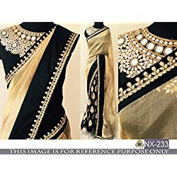 Sunshine Fashion Cream Color Georgette & Lycra Fabric Embroidery , MirrorWork Saree ( New Arrival Latest Best Choice and Design Beautiful Sarees and Salwar suits and Dress Material Collection For Women and Girl Party wear Festival wear Special Function Events Wear In Low Price With Todays Special Offer with Fancy Pattern Designer Blouse and Bollywood Collection 2017 Good Looking Clothes )