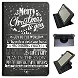 Fancy A Snuggle Nero Vintage Tipografia Natale in Similpelle Dotata di Copertura, con Supporto Verticale per Tablet Lenovo Nero Joy To The World Let It Snow Lenovo Tab 3 8 inch