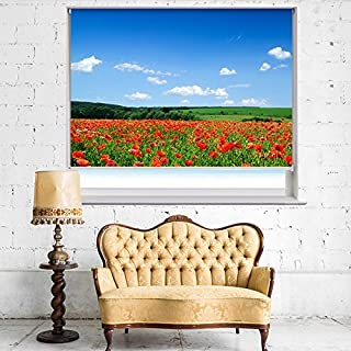 POPPIES AND THE BLUE SKY FLORAL IMAGE Printed Picture Blackout Photo Roller Blind - Custom Made Printed Window Blind