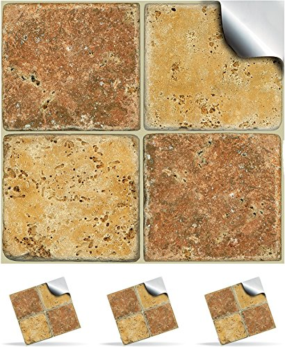 2-cream-and-brown-stone-mosaic-wall-tile-stickers-for-150mm-6inch-square-tiles-ntp-08-realistic-look