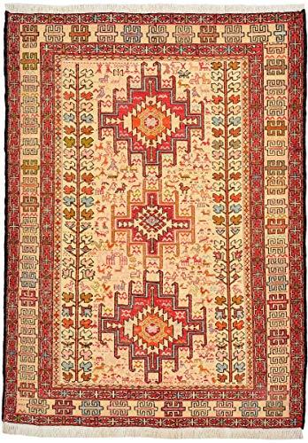 Nain Trading Kelim Soumak Seide 137x99 Orientteppich Teppich Beige/Orange Handgeknüpft Indien -