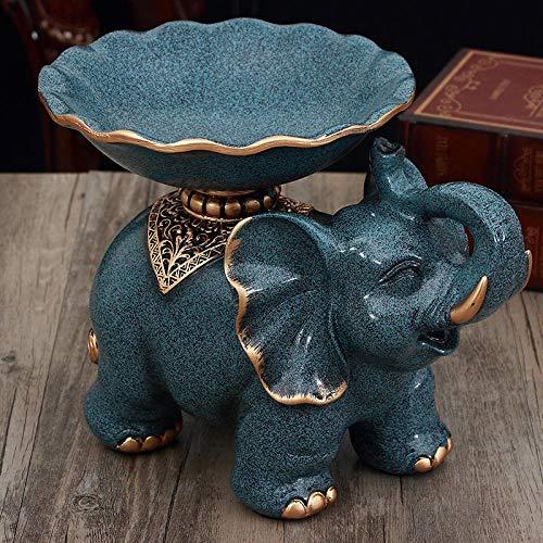 Joeesun Europäische kreative Dekorationen Wohnzimmer couchtisch obstschale Tissue Box aschenbecher dreiteilige Dekoration Home Moving Geschenk Blue Point Elefanten obstteller 279