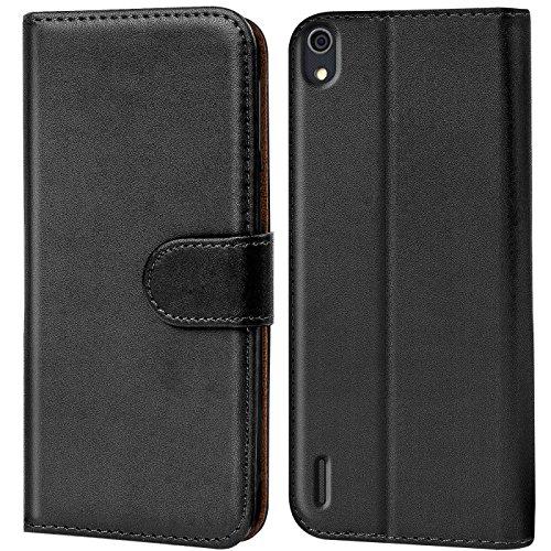 Verco Huawei P7 Hülle, Handyhülle für Huawei Ascend P7 Tasche PU Leder Flip Case Brieftasche - Schwarz