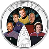 FIVE CAPTAINS Star Trek Glow In The Dark 2 Oz Silber Münze 30$ Canada 2017
