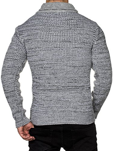 TAZZIO Herren Styler Grobstrick-Pullover mit Zipper-Kragen Melange Muster 16478 Grau