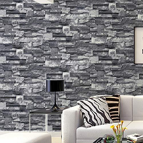 Tapete Wandtattoo Wandsticker Grauschwarz Brick Wall Tapetenrolle Faux Stone Effect Tapeten Wandbeläge -
