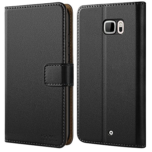 HOOMIL HTC U Ultra Hülle Leder Flip Case Handyhülle für HTC U Ultra Tasche Brieftasche Schutzhülle - Schwarz (H3223)