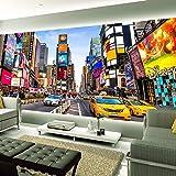 Wandgemälde Benutzerdefinierte 3D-Fototapete Times Square New York Moderne Street View Shop Bar Schlafzimmer Wohnzimmer Theme Wallpaper 3D-Stereo-Wandgemälde,250Cm(H)×360Cm(W)