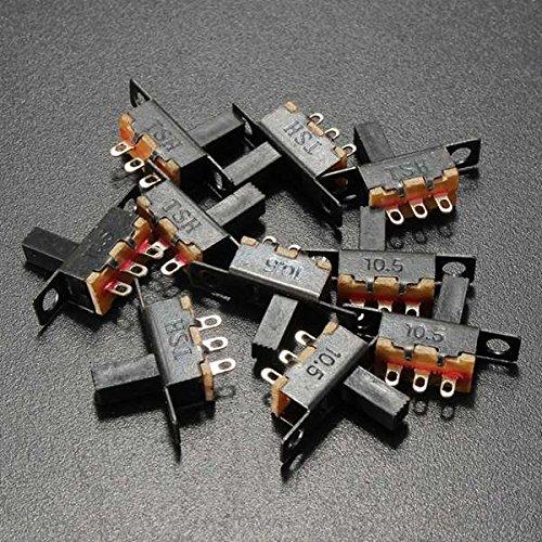 ExcLent 10 Stücke Schwarz Mini Größe Spdt Schiebeschalter Auf-Aus 100 V 2A Diy Material -