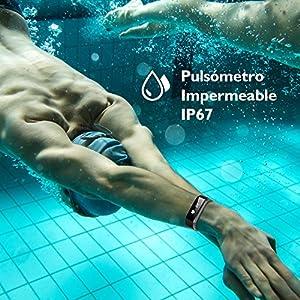 Pulsera de Actividad Pulsómetro Impermeable IP67 Pulsera Inteligente con Monitor de Ritmo Cardíaco Monitor de Actividad Podómetro Monitor de Calorías y Sueño Fitness Tracker Pulsera Bluetooth Móvil Compatible