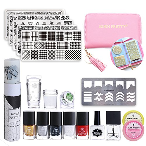 BORN PRETTY Nail Stamping Starter Kit -Stamping Polish Set & No Smudge Top Coat & Peel Off Latex & Flowers Stamping Templates Kit Manicure Tool (Floral Cross Kit)
