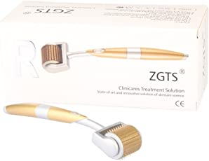 ZGTS 192 Needles Professional Luxury Gold Plated Titanium Alloy Needles Derma Roller, Gold, 0.5mm