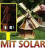 Windmühle, mit Holzschindel - Dach SOLAR Innenbeleuchtung 1,2 m groß hellbraun braun hell + natur MIT SOLARBELEUCHTUNG HOLZSCHINDEL aus Massivholz für Garten und Terrasse
