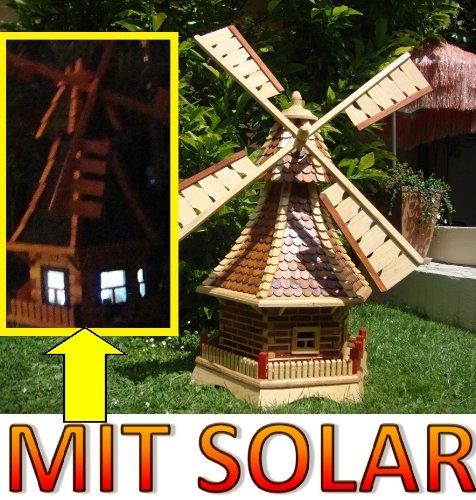 XL Windmühle, windmühlen garten, mit Holz Schindeldach,MIT PREMIUM-2X-SOLARBELEUCHTUNG als Windmühlen-Zubehör,WMS100he-MS 1 m groß hellbraun braun