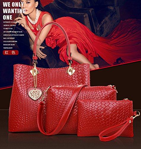 Sunas Borsa delle donne di modo 2017 retro 3 insiemi di sacchetto di spalla del sacchetto delle donne + sacchetto del messaggero + raccoglitore rosso