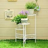 Estanterías de porche Estante de flor de hierro, 3 Tiered Plant Display Stand Bonsai Holder Inicio Garden Patio Decor Plegable Shelf Holds Soporte de la planta de la caja de la flor ( Color : Blanco , Tamaño : 45*60CM )