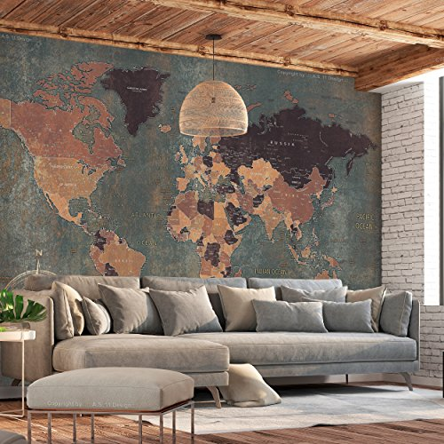 decomonkey   Fototapete Weltkarte Landkarte Kontinent 200x140 cm   Tapete   Wandbild   Bild   Fototapeten   Tapeten   Wandtapete   Wanddeko   Wand Dekoration   World Map Alt grün