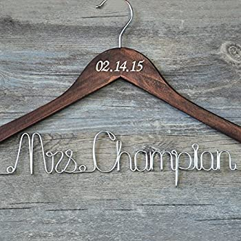 9f8d8d2a22 Wedding Hangers Personalised Name Wedding Dress Hanger Mrs for Bride ...