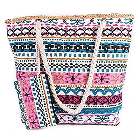 VANCOO Summer Large Canvas Beach Tote Bag with Zip for Women and Girls (Bohemian)