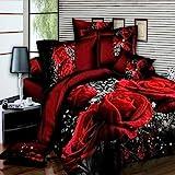 ETbotu Set di Biancheria da Letto,4 PZ 3D Big Red Rose Floral Bedding Set Copripiumino Matrimonio Lenzuola Federe Set Letto