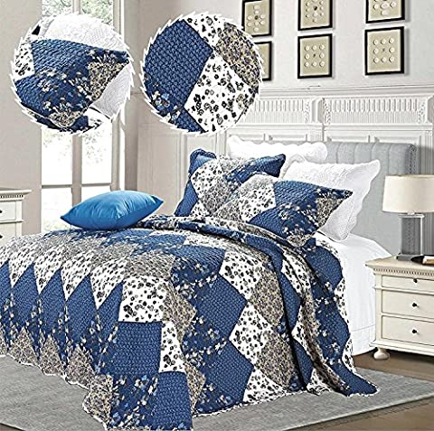 3 Piece Bedspreads Patchwork Vintage Floral Embroidered Bedding Set Reversible Top Quality Bedspread (Super King ( 250 x 270 cm),