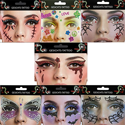 Gesicht Tattoo Face Art Halloween Karneval Träne Fledermaus Flower Power Narbe Spinne (Katze Make Up Einfach Kostüm)