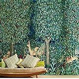 ZCHENG Fondo retro dormitorio de la pared que cubre los alces americanos verde bosque papel tapiz tema hotel ktv, 200x140 cm (78.7 por 55.1 pulg.)