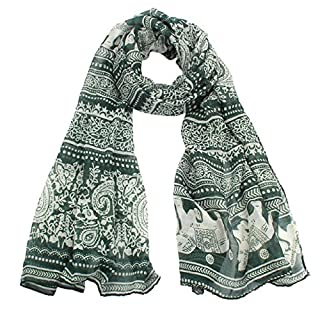 Atdoshop(TM) New Ladies Neck Stole Elephant Print Long Scarf Shawl Wrap Pashmina (Green)