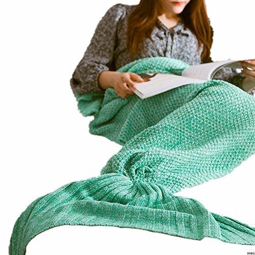 A mano a maglia Sirena Coperta da HMMJ, morbido e caldo Sirena Coda coperta Divano Letto , Tutte le stagioni sacco a pelo per adulti e bambini (73.46 pollici x36.7 pollici) (menta verde)