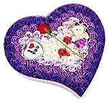 AFCITY Für Immer Blumen Rose Seifenblume Valentinstag Seifenblume Bär Herzförmige Geschenkbox Geburtstag Mädchen Geschenke verschicken Beste Valentines Geschenk für Freundin Frau (Farbe : Purple 3)