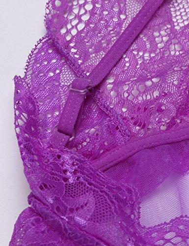 Avidlove Damen Erotik Nachtwäsche Set V-Ausschnitt Nachthemd Negligé Babydoll Rückenfrei Dessous Set mit Rüschen Unterkleid Violett