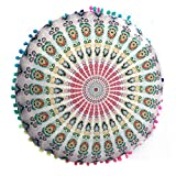 Vovotrade® I Nuovi Cuscini Indiani del Pavimento di Mandala appoggiano i Cuscini Rotondi della Cassa dei Cuscini dell'ammortizzatore della Boemia (D)