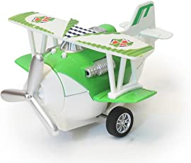 The Flyers Bay Biplane Airplane Model Decor Toy Collectible with Sound and Working Wings, Green