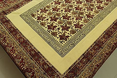 Indian Cotton Rectangular Fabric Tablecloths Napkins Set Block Print Ethnic Border Dining Table Cover Floral Stamp Printed Beige Bagru Natural Dyed Twin Sheets 58 x 84