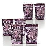 PTMD 6er Set Windlichter aus Glas für Kerzen/ Teelichter. Maße: ca. 8,5 cm Höhe, Ø ca. 6 cm, Stimmungsvolle Lichteffekte durch Bordeaux-Rosa/ Weiß Ornamentmuster am Glas und silberner Beschichtung im Glas. Teelichthalter, Teelichtglas