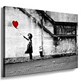 Fotoleinwand24 - Banksy Graffiti Art 'There Is Always Hope' / AA0134 / Bild auf Keilrahmen / Grau / 100x70 cm