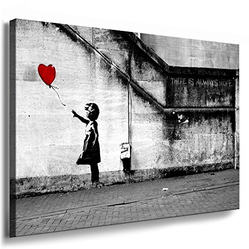 "Fotoleinwand24 - Banksy Graffiti Art ""There Is Always Hope\"" / AA0134 / Bild auf Keilrahmen / Grau / 80x60 cm"