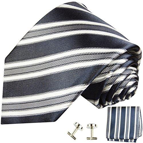Cravate bleu gris rayée ensemble de cravate 3 Pièces ( 100% Soie Cravate + Mouchoir + Boutons de manchette )
