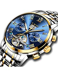 Watches Mens Automatic Mechanical LIGE Luxury Brand Wrist Watches Stainless Steel Date Skeleton Tourbillon Watch,Gold Blue