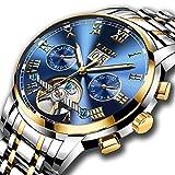 LIGE - Orologio da polso per uomo, automatico, meccanico in acciaio inossidabile, con datario, scheletrato, con movimento Tourbillon, marchio prestigioso, colore: oro blu