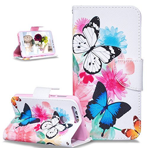 Price comparison product image Huawei Honor 8 Case,Huawei Honor 8 Cover,ikasus Colorful Painted Flower Butterfly Pattern Premium PU Leather Fold Wallet Pouch Case Wallet Flip Cover Bookstyle Magnetic Closure with Card Slots & Stand Function Protective Case Cover for Huawei Honor 8,Colorful Flower Butterfly