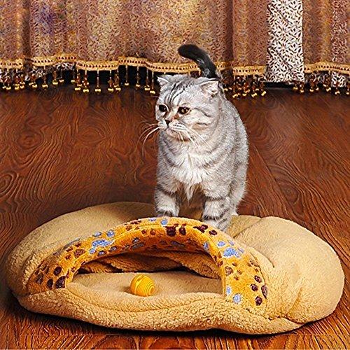 Pecute weiche warme Katzenhöhle Katzebett Schlaftasche Hundebett Haus-Welpen Schlafen Mat Schlafsack kurze Plüsch Braun - 6