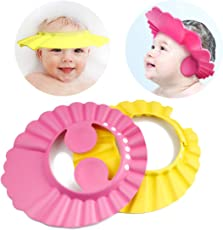 Adjustable Safe Soft Bathing Baby Shower Cap Wash Hair for Children Baby Eye Ear Protector Adjustable Leaves Shape Bathing Shower/Shampoo Cap Hat Pack of 1