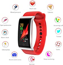 Fitness Tracker HR,Color Screen Activity Tracker Sport Watch with Pedometer Blood Pressure Heart Rate Monitor IP67 Waterproof Running Sleep Monitor Call SMS SnS Remind Smart Band for Men Women