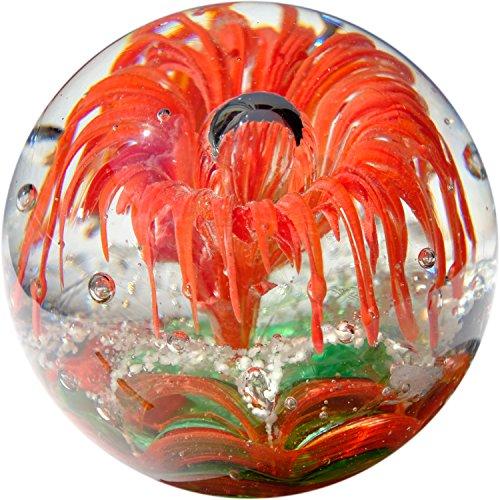 Kaltner Präsente Geschenkidee: Traumkugel Glaskugel Briefbeschwerer Kugel aus Glas Farbe Rot Grün (Ø 85 mm)