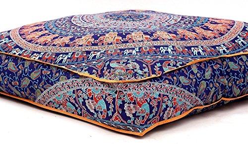 THE ART BOX - Funda para cojín (algodón, 88,9 x 88,9 cm), diseño de Elefante, Color Azul